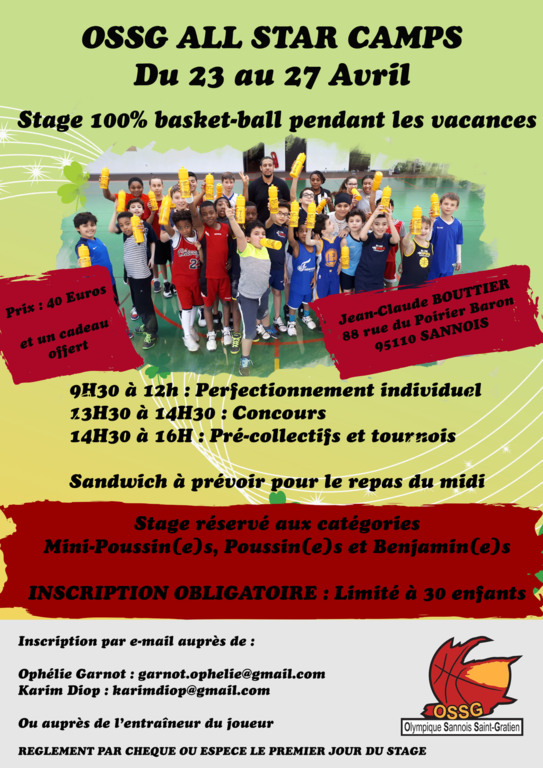 Stage d'Avril : Inscris toi !!